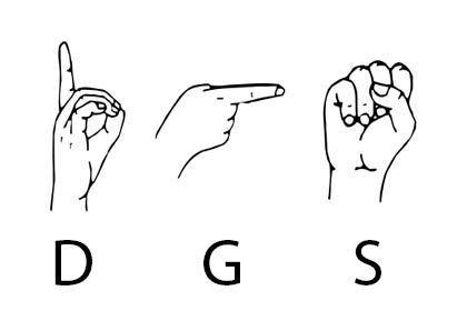 Das Zeichnung zeigt die Handzeichen für D, G und S.